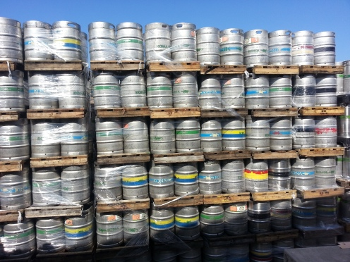 Kegs waiting to be filled with wonderful Kona brew.
